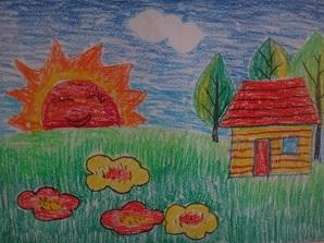 """学生蜡笔画作品""""海底世界"""" 学生蜡笔画作品""""可爱家乡""""-我们一起"""
